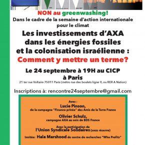 Les investissements d'AXA dans les énergies fossiles et la colonisation israélienne:Comment y mettre fin?