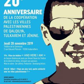 Le Freedom Theatre de Jénine à Aubervilliers jeudi 28/11/2019 à 19 h