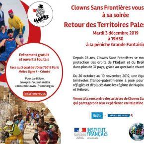 Invitation Clowns Sans Frontières // Retour de Palestine // mardi 3 décembre 2019 à Paris
