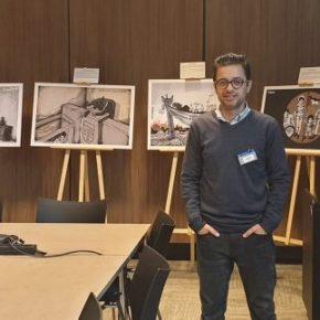 Des vandales ont essayé de dissimuler l'art de Mohammad                   Sabaaneh – au siège de la CPI