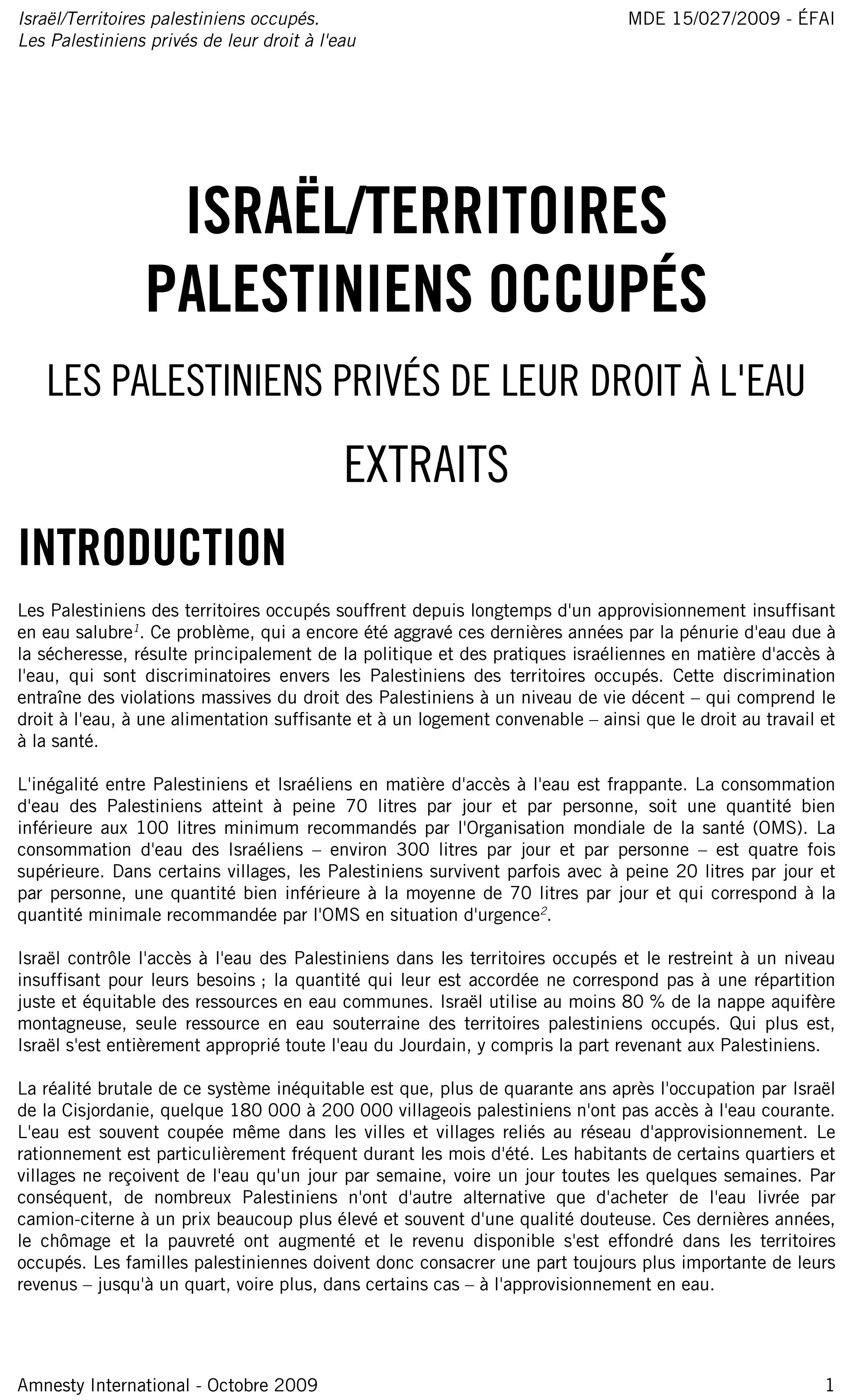 Les palestiniens privés de leur droit à l'eau, extraits du rapport